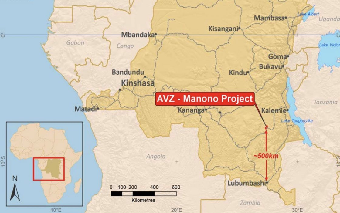 Location of Manono Project, DRC