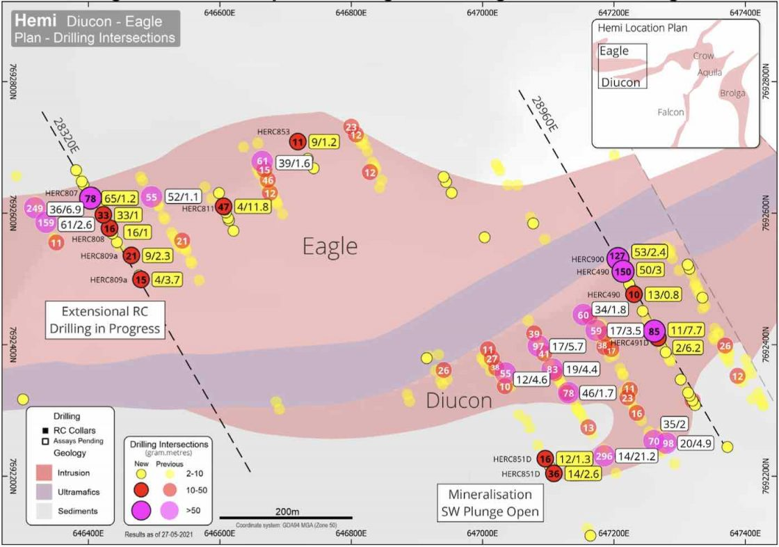 Hemi plan showing new drilling at Diucon and Eagle