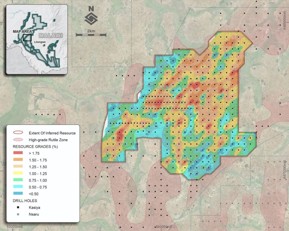 Drill density map displaying rutile grades in the uppermost portion of the Kasiya MRE