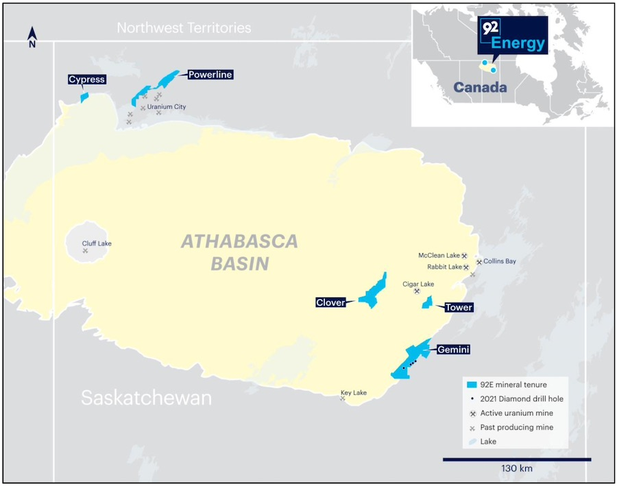 Location of 92 Energy uranium projects within the Athabasca Basin