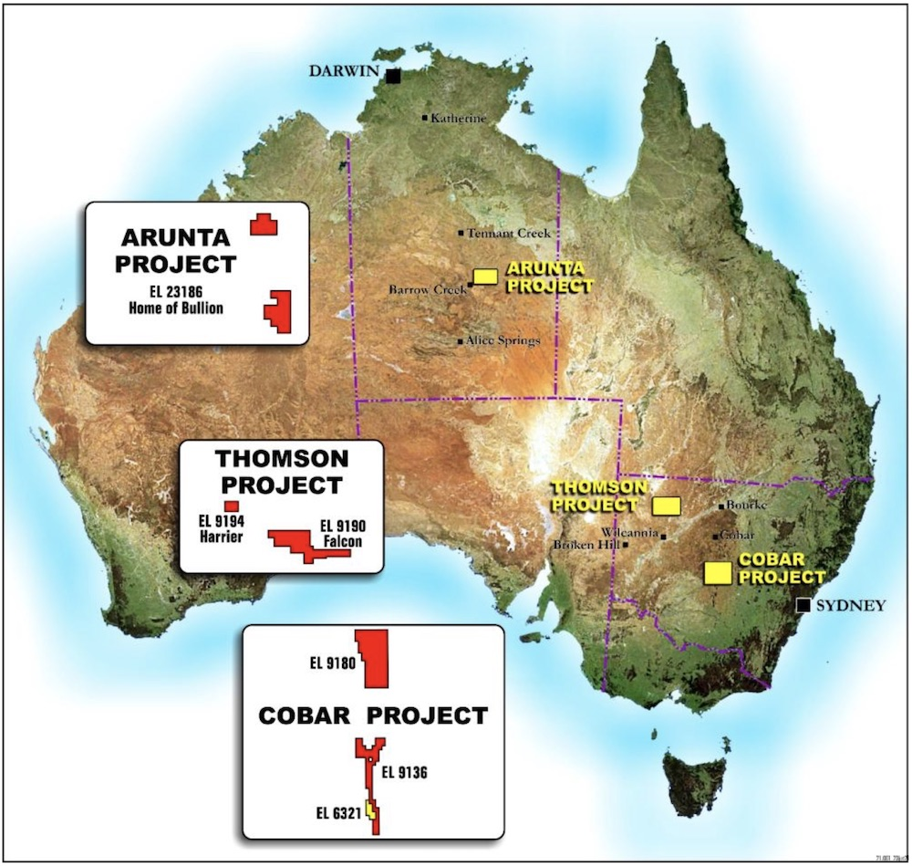 Map displaying Eastern Metals' projects across NT and NSW
