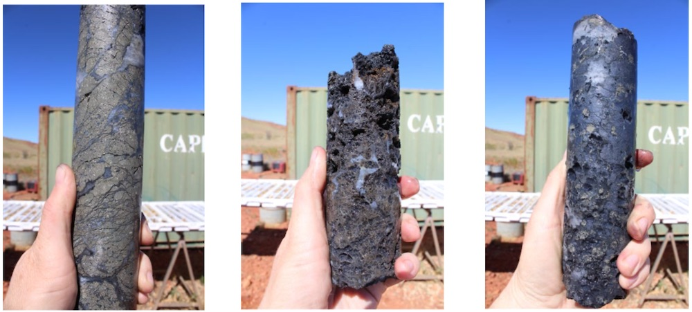 Drill core from hole ETG0226 displaying semi-massive pyrite - chalcocite mineralisation