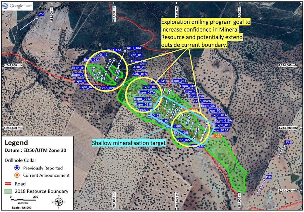 Map of the Oropesa Tin Project displaying shallow mineralisation targeted in the latest round of drilling