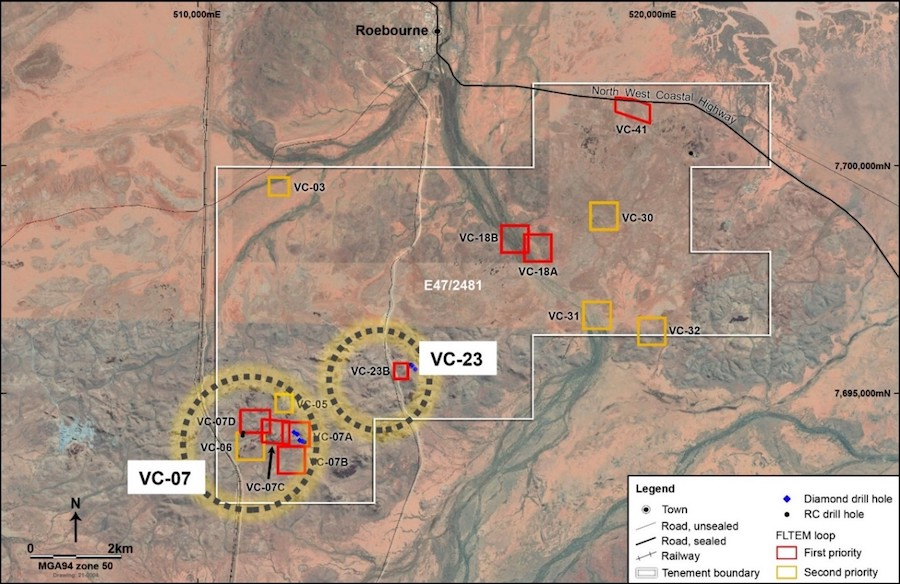 Map of the Andover Nickel-Copper Project displaying the VC-07 and VC-23 prospects plus EM targets
