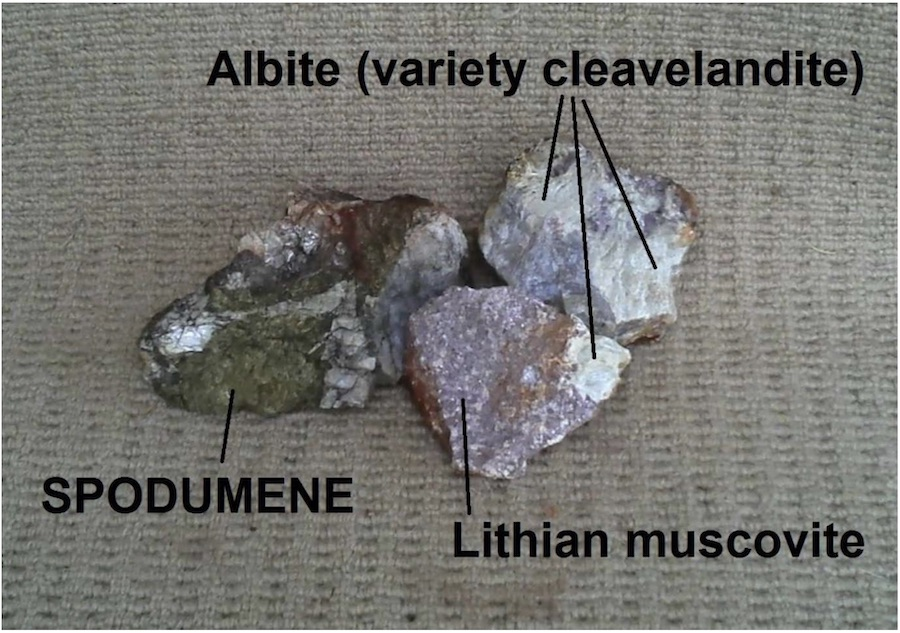 Green spodumene specimen recovered from a creek bed west of the Deep Purple pegmatite