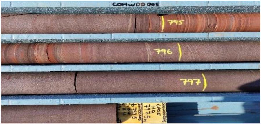 HWDD05 drill core displaying typical Pandurra Formation from from 795m