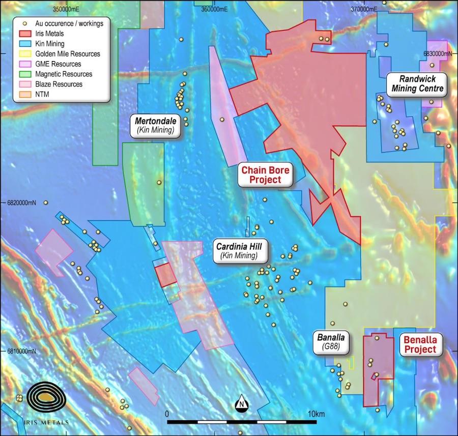 IRIS' Leonora projects, with adjacent major landholders including Kin Mining