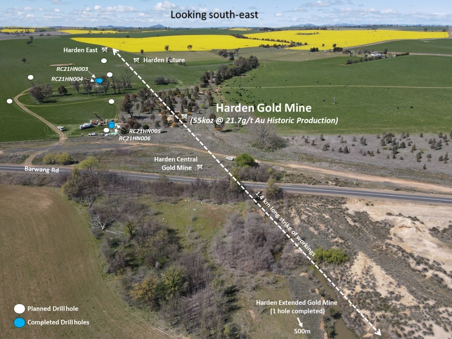 View looking south-east at the Harden Gold Mine displaying completed and planned RC drill holes