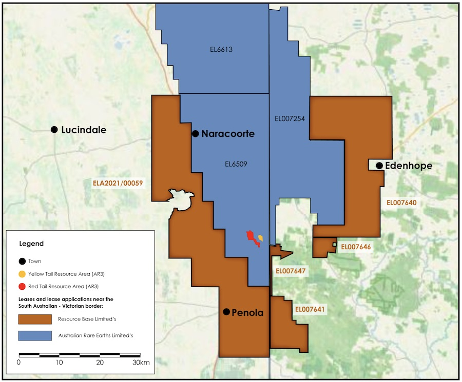 Mitre Hill project (orange) surrounding the yellow tail and red tail rare earths deposits