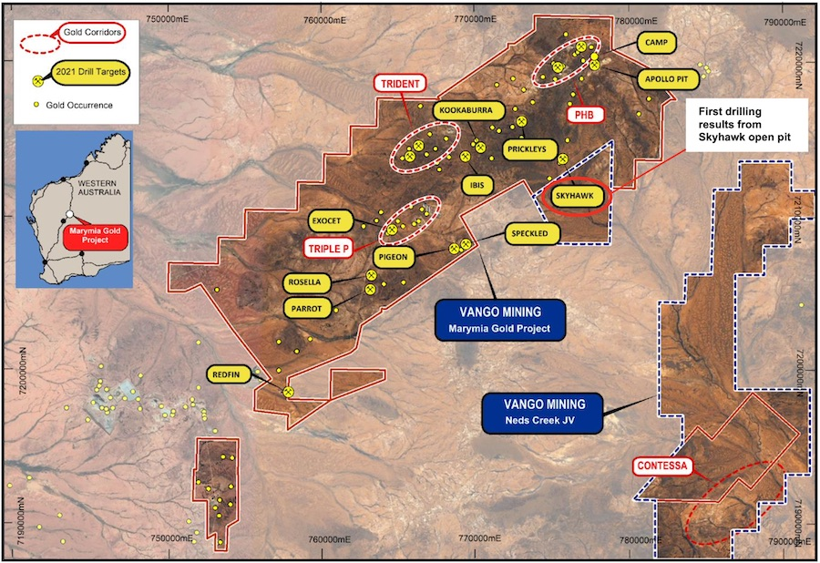 Map of the Marymia Gold Project in Western Australia, displaying all 11 priority open pit targets