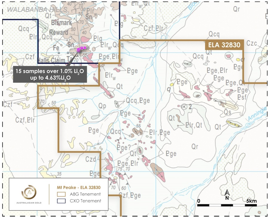 Australasian Gold's Mt Peake Project with adjacent Core Lithium tenement