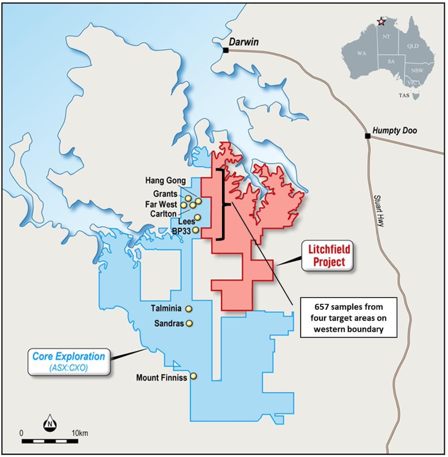 The Litchfield Lithium Project sits adjacent to Core Lithium's 7.4Mt @ 1.3% Li2O Finnis Lithium Project in the Northern Territory