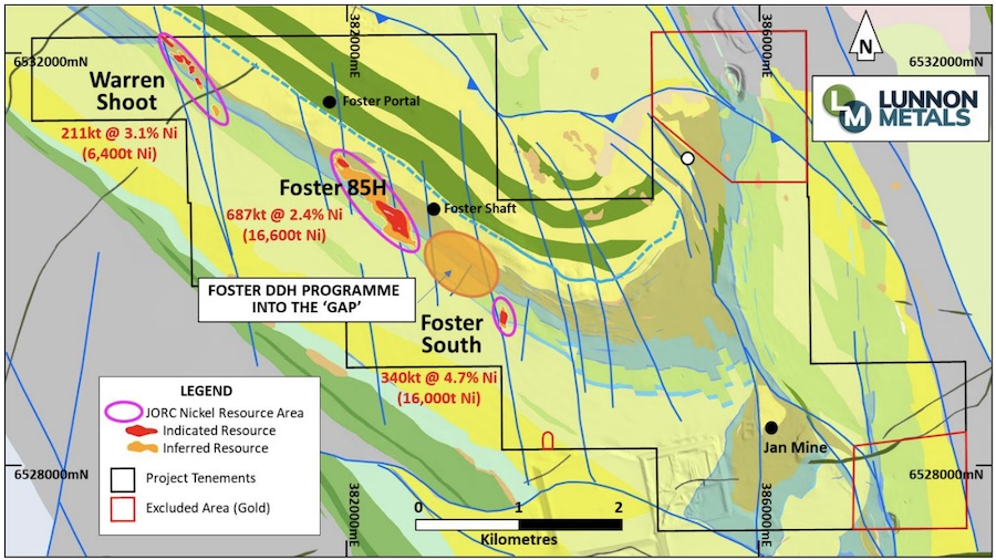 Map of the Kambalda Nickel Project displaying the gap (circled orange) between the Foster Decline and Foster South