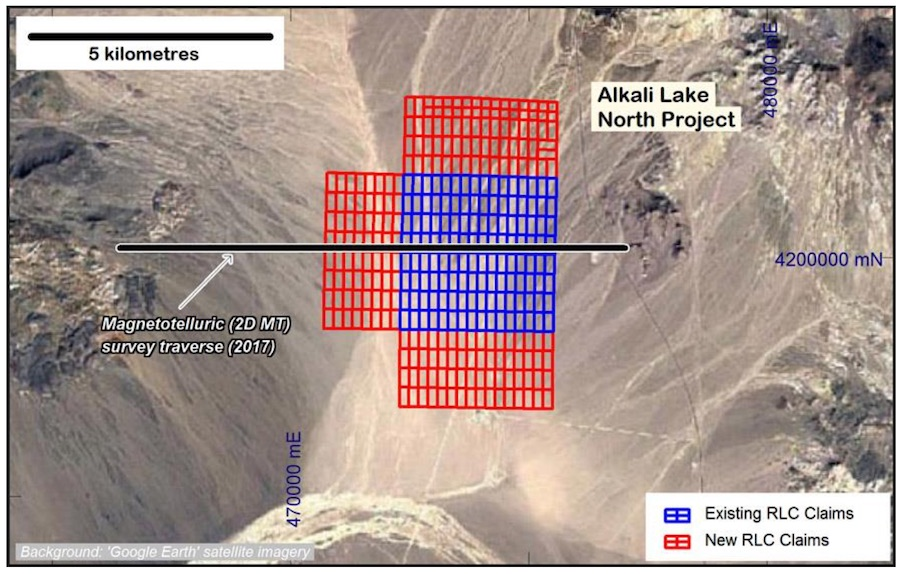 Map of Alkali Lake lithium brine project showing project growth with new placer mining claims in red