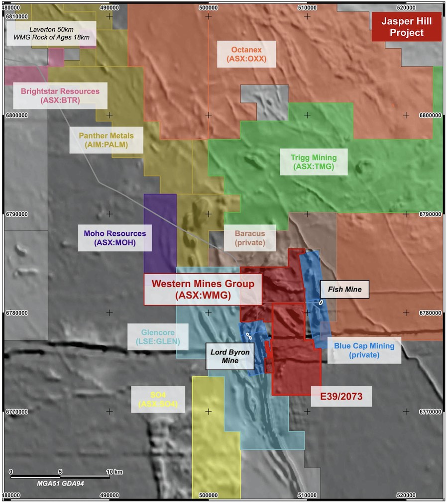Western Mines Group's tenement holdings (in red) with surrounding projects